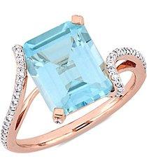 14k rose gold, sky blue topaz & diamond bypass cocktail ring
