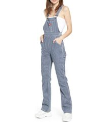 women's dickies hickory stripe overalls, size x-large - blue