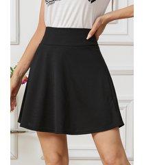 yoins minifalda negra de cintura alta con cierre de cremallera en la espalda