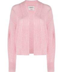 essentiel antwerp ribbed open-front cardigan - pink