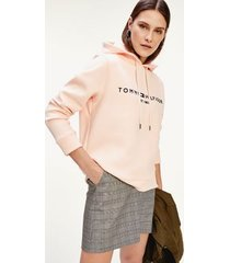 tommy hilfiger women's relaxed fit logo hoodie bridal rose - xl
