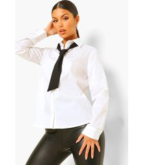 blouse met strik, white