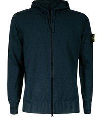 stone island logo sleeve zipped hoodie