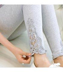 women leggings lace decoration white leggings