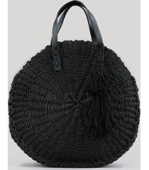 bolsa feminina de palha redonda com tassel preta