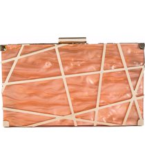 bolsa clutch de acrílico isla galerias marmorizada cor laranja cantaloupe