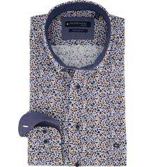 giordano overhemd bruin blauwe print