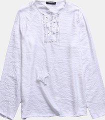 magliette allentate casuali della maglietta di colore solido della manica lunga del cotone degli uomini