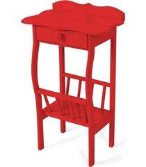 mesa lateral apoio sala revisteiro vermelho - vermelho - dafiti