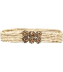woman belt in natural rope with jewel buckle