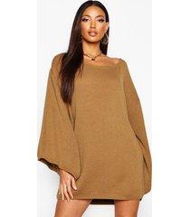 oversized trui jurk met wijde mouwen, toffee