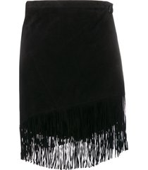jessie western fringed mini skirt - black