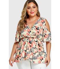yoins plus tamaño blusa de media manga con hombros descubiertos y flores florales