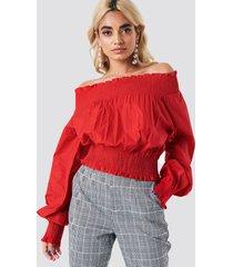 na-kd boho balloon sleeve off shoulder blouse - red