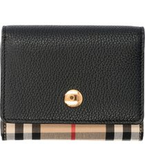 burberry leather and check fabric wallet