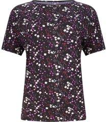 camiseta mujer flores rosas y blancas