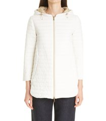 women's herno reversible matte/shiny high/low down puffer jacket, size 12 us - white