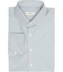 camicia da uomo su misura, ibieffe, popeline riga grigia, quattro stagioni | lanieri