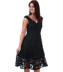 french connection blossom lace bardot dress size 14 in black