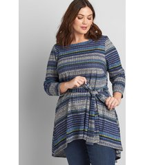 lane bryant women's boatneck belted high-low tunic top multi blue