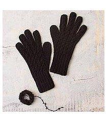 100% alpaca gloves, 'winter delight in black' (peru)