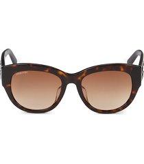 swarovski women's 54mm cat eye sunglasses - dark havana