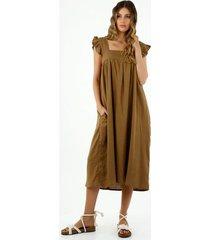 vestido midi de mujer, cuello cuadrado, en tela tipo lino, color café