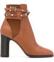 valentino garavani rockstud buckle ankle booties - brown