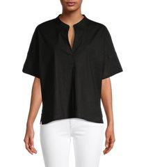 vince women's linen-blend popover top - black - size xxs