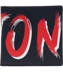 kiton logo print billfold wallet - blue