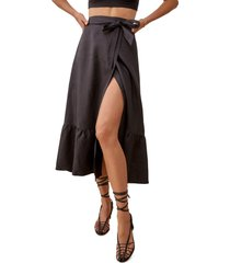 reformation julep ruffle skirt, size x-small in black at nordstrom