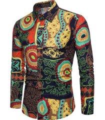 camicia da uomo manica lunga casual da uomo con stampa hip hop