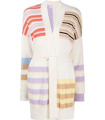 chinti and parker striped tie waist cardigan - neutrals