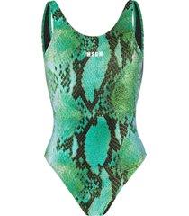 msgm snakeskin-print scoop-back swimsuit - green