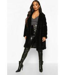 petite luxe faux fur jas, zwart