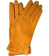 forzieri designer women's gloves, mustard yellow leather women's gloves w/cashmere lining