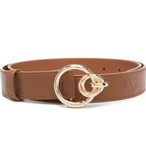 pinko double ring-buckle leather belt - brown