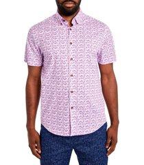 tallia men's comfort stretch leaf print short sleeve shirt