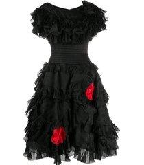 a.n.g.e.l.o. vintage cult 1980s ruffled rose dress - black