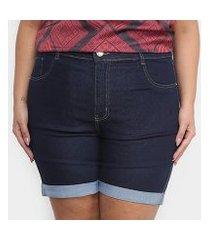 short jeans xtra charm plus size + cinta modeladora feminino