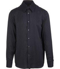 alexander mcqueen man black pinstripe shirt in golden lurex