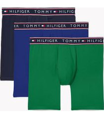 tommy hilfiger men's cotton stretch boxer brief 3pk navy/true blue/jolly green - xl