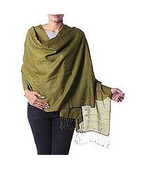 silk and wool shawl, 'olive forest' (india)