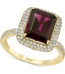 effy rhodolite garnet (3-7/8 ct. t.w.) & diamond (3/8 ct. t.w.) statement ring in 14k gold