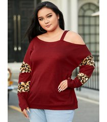 yoins basics plus talla one suéter de manga larga con estampado de leopardo y hombros descubiertos