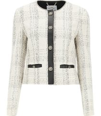 salvatore ferragamo tweed and leather jacket