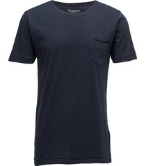 alder basic chest pocket tee - gots t-shirts short-sleeved blå knowledge cotton apparel