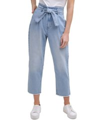 calvin klein jeans high-rise belted straight-leg cropped jeans