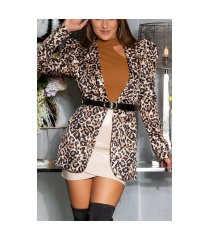 sexy luipaard puffed blazer met lange mouwen en riem luipaard
