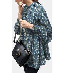 camicetta casual allentata con maniche a sbuffo con stampa floreale per donna